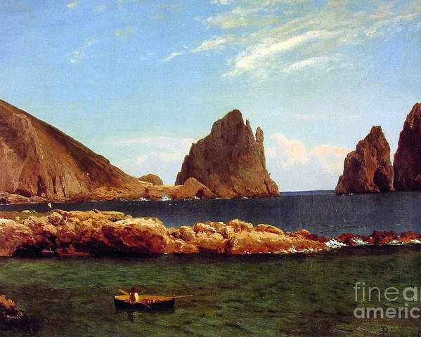 Albert_bierstadt_capri Poster featuring the painting Capri by MotionAge Designs