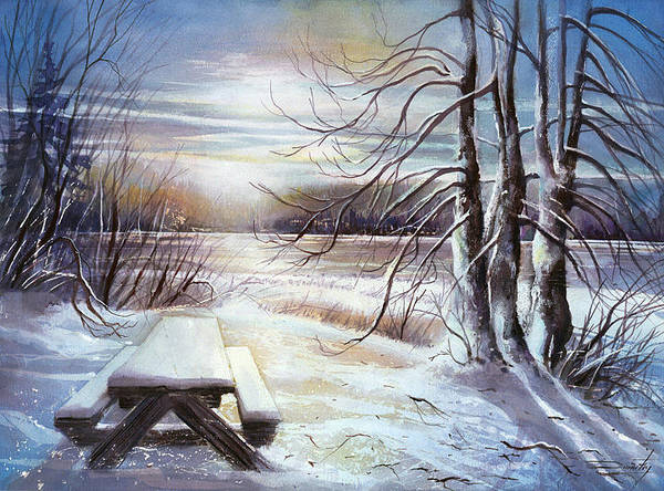 Landscape Poster featuring the painting Capturing The Snow by Dumitru Barliga