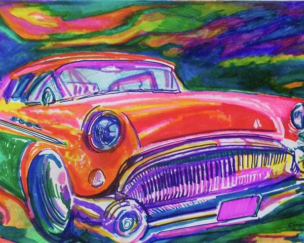Hod Rod Art Poster featuring the painting Car And Colorful by Evelyn Sprouse Rowe