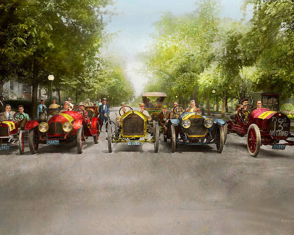 Car Race Poster featuring the photograph Car - Race - Hold On To Your Hats 1915 by Mike Savad
