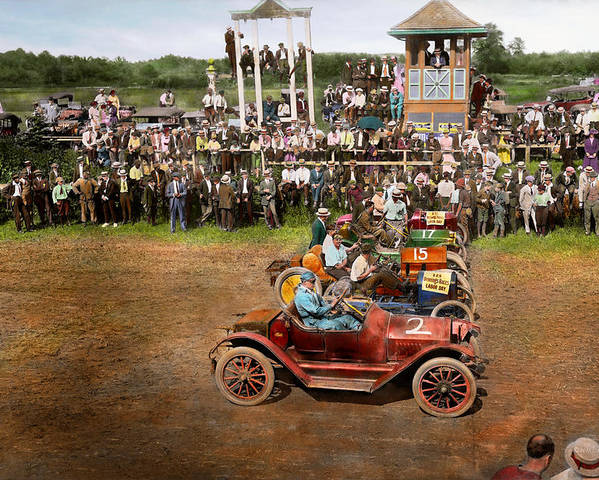 Auto Races Poster featuring the photograph Car - Race - On The Edge Of Their Seats 1915 by Mike Savad