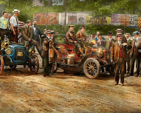 Car Poster featuring the photograph Car - Race - The End Of A Long Journey 1906 by Mike Savad