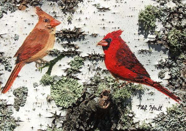 Cardinals Poster featuring the painting Cardinal Pair II by Philip Hall