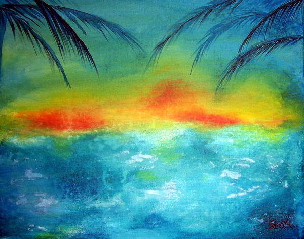 Vivid Contemporary Seascape Poster featuring the painting Caribbean Dreams by Shasta Miller