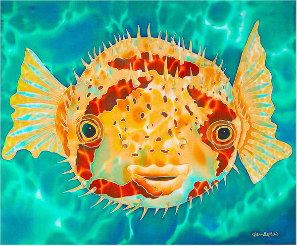 Puffer Fish Poster featuring the painting Caribbean Puffer by Daniel Jean-Baptiste