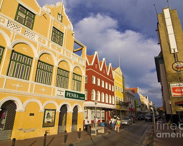 Curacao Poster featuring the photograph Caribbean Shopping District by Sven Brogren