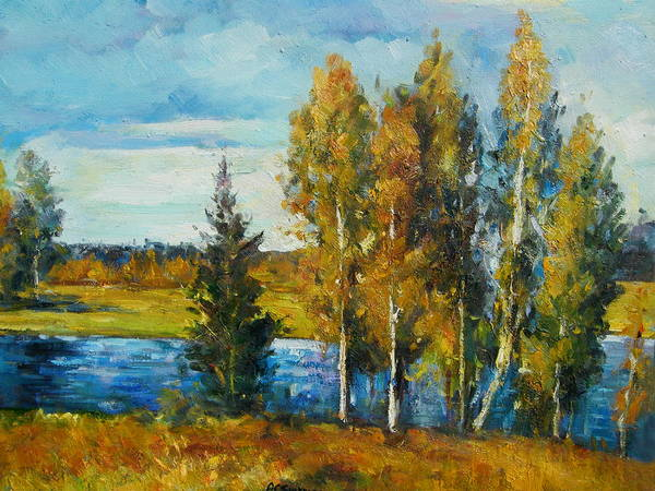 Landscape Poster featuring the painting Cariboo Fall by Imagine Art Works Studio