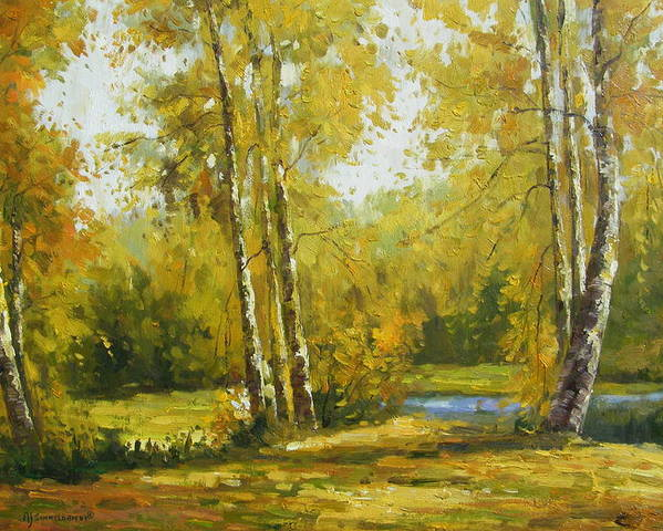 Landscape Poster featuring the painting Cariboo Gold by Imagine Art Works Studio