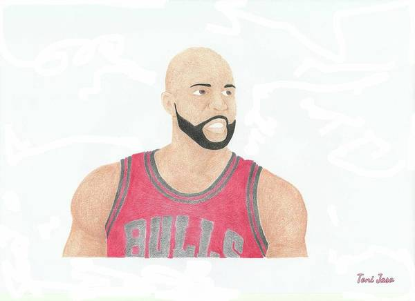 Carlos Boozer Poster featuring the drawing Carlos Boozer by Toni Jaso