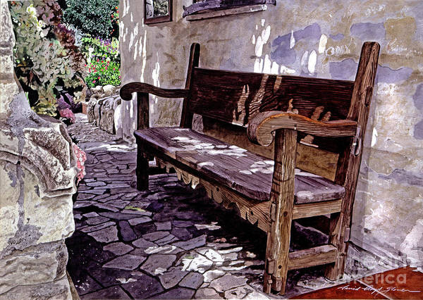Watercolor Poster featuring the painting Carmel Mission Bench by David Lloyd Glover
