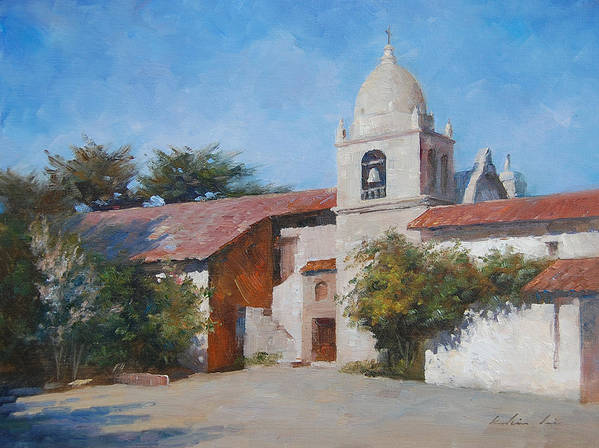 Landscape Poster featuring the painting Carmel Mission by Kelvin Lei