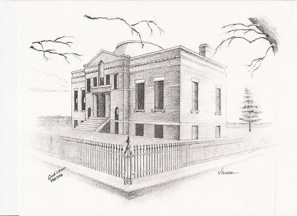 Architecture Poster featuring the painting Carnegie Library Mitchell South Dakota by Buffalo Dick Vance