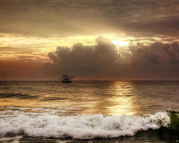 Beach Poster featuring the photograph Carolina Beach Shrimp Boat At Sunrise by Chrystal Mimbs