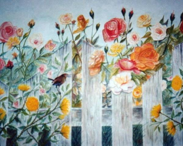 Roses; Flowers; Sc Wren Poster featuring the painting Carolina Wren And Roses by Ben Kiger