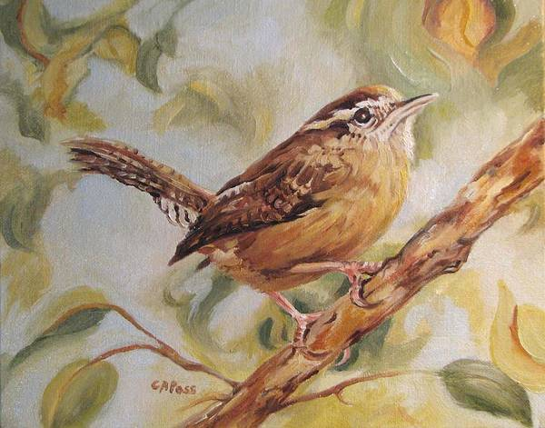 Birds Poster featuring the painting Carolina Wren II by Cheryl Pass