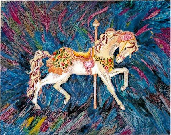 Horse Poster featuring the painting Carousel Horse With Dark Background by Brenda Adams