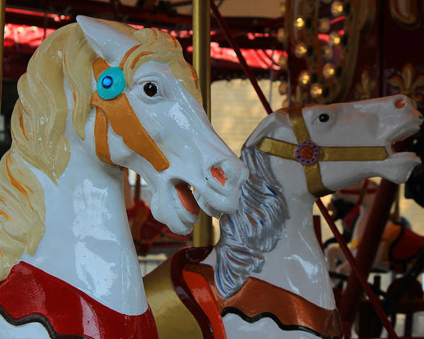 Horse Poster featuring the photograph Carousel Horses At A Fair by Robert Hamm