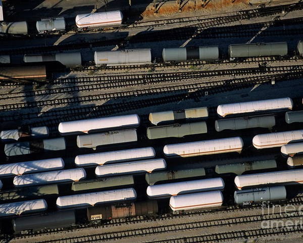 Cargo Poster featuring the photograph Carriages Of Freight Trains On A Commercial Railway by Sami Sarkis