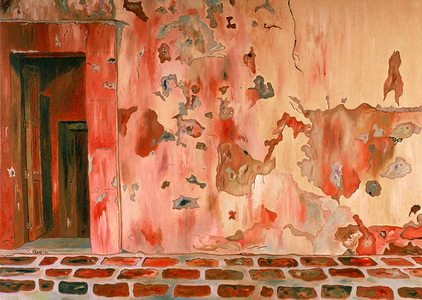 Landscape Poster featuring the painting Casa Vieja Old House by Oudi Arroni