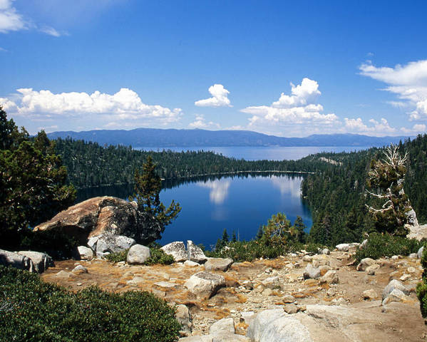 Lake Tahoe Poster featuring the photograph Cascade Lake And Lake Tahoe by Troy Montemayor