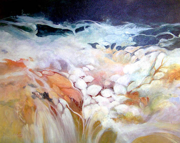 Acrylic;painting;water;rocks;waterfall;contemporary; Poster featuring the painting Cascade by Lois Mountz