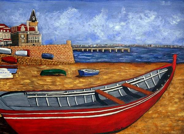Cascais Poster featuring the painting Cascais - Beach by Vitor Fernandes VIFER