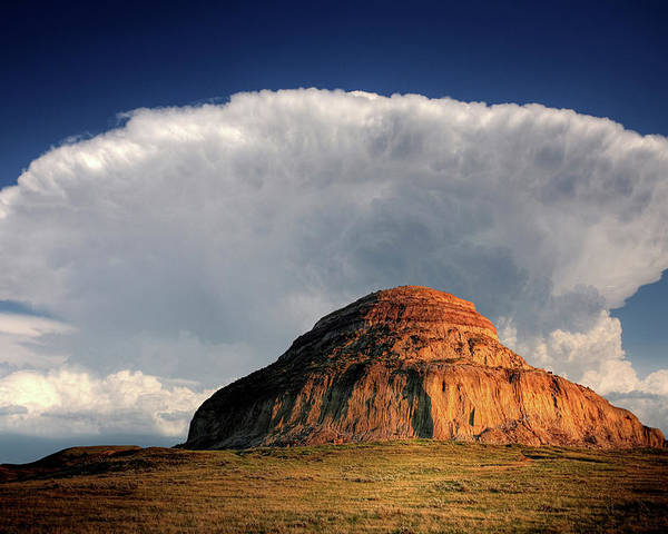 Cumulonimbus Poster featuring the digital art Castle Butte In Big Muddy Valley Of Saskatchewan by Mark Duffy