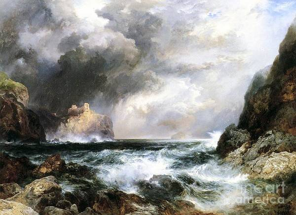 Waves Poster featuring the painting Castle In Scotland by Thomas Moran