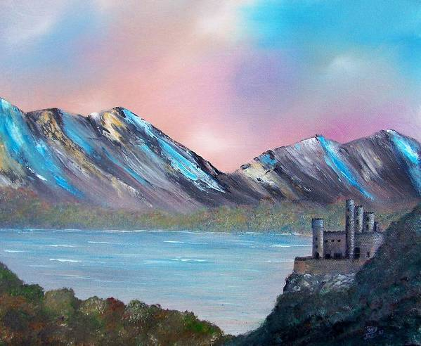 Landscape Poster featuring the painting Castle Landscape by Tony Rodriguez