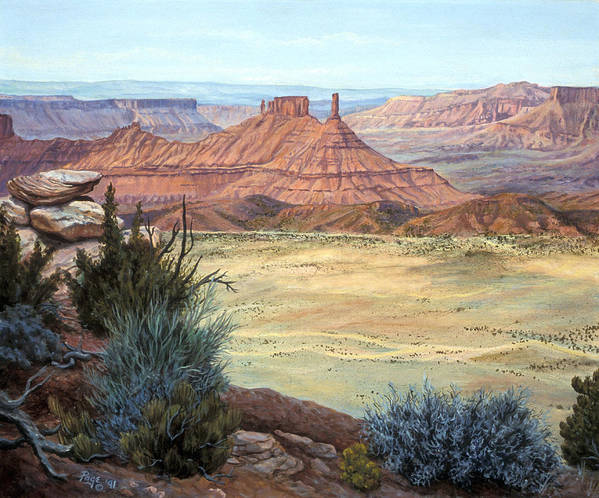 Landscape Poster featuring the painting Castle Rock Iv by Page Holland