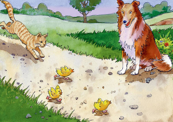 Watercolor Poster featuring the painting Cat Chasing Chicks by Valer Ian