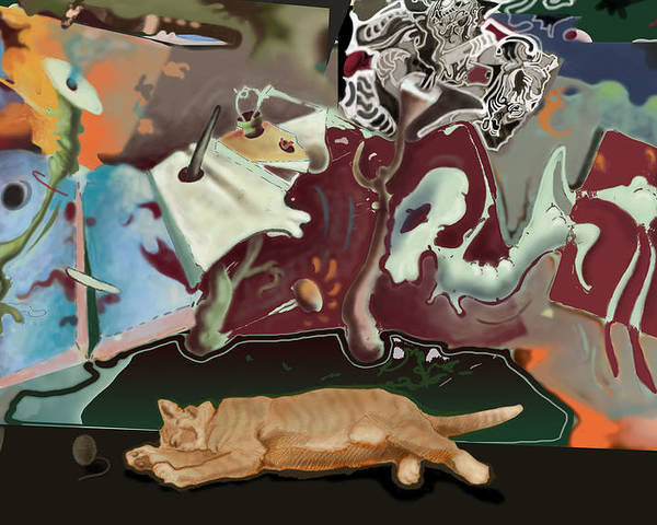 Drawing Poster featuring the digital art Cat Dreams II by Tom Durham