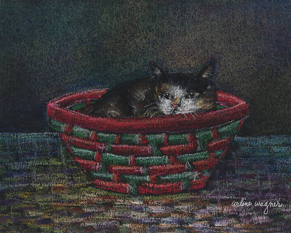 Cat Poster featuring the pastel Cat In A Basket by Arline Wagner