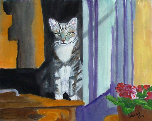 Cat Poster featuring the painting Cat In Window by Mary Jo Zorad