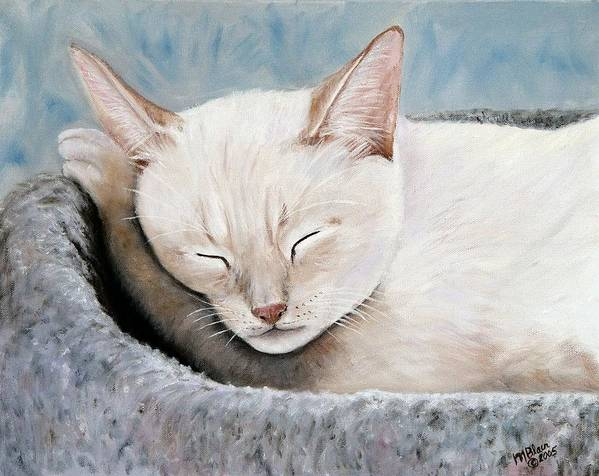 Pets Poster featuring the painting Cat Nap by Merle Blair