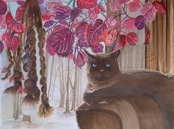 Cat Poster featuring the painting Cat On A Foggy Day by Rebecca Marona