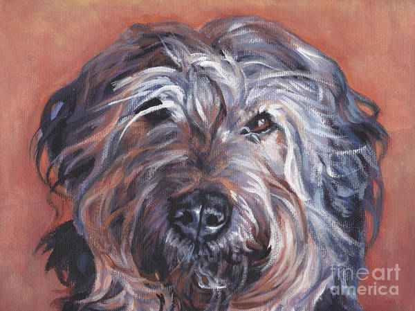 Catalan Sheepdog Poster featuring the painting Catalan Sheepdog by Lee Ann Shepard