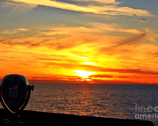 Seascape Poster featuring the photograph Catalina Sunset by Kelly Holm