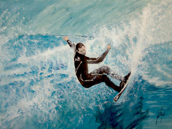 Surfer Water Wave Beach Poster featuring the painting Catch by Jim Phillips