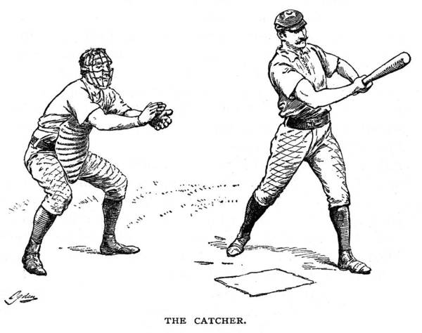1889 Poster featuring the photograph Catcher & Batter, 1889 by Granger