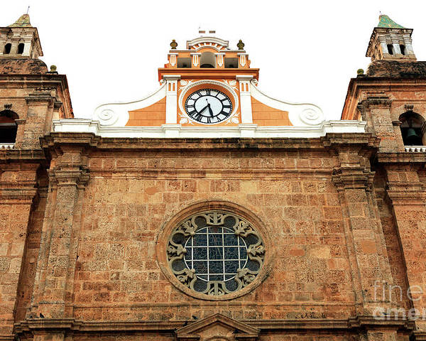 Cathedral Of Cartagena Clock Poster featuring the photograph Cathedral Of Cartagena Clock by John Rizzuto