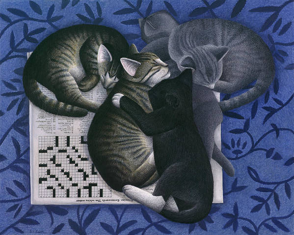 Alley Cat Poster featuring the painting Cats And Crossword by Carol Wilson