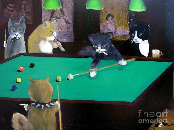 Cats Poster featuring the painting Cats Playing Pool by Gail Eisenfeld