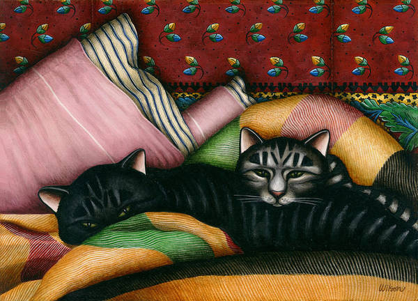 Black Cat Poster featuring the painting Cats With Pillow And Blanket by Carol Wilson
