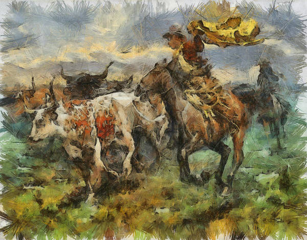 Cattle Poster featuring the painting Cattle by Shimi Gasaba