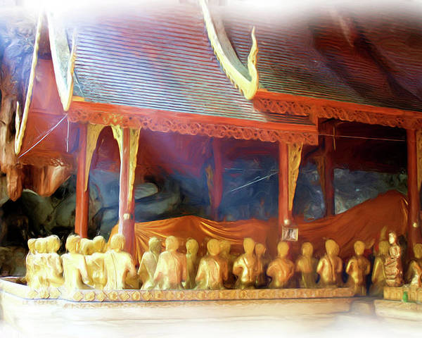 Buddhism Poster featuring the painting Cave Of The Bat Temple 2 by Bates Clark