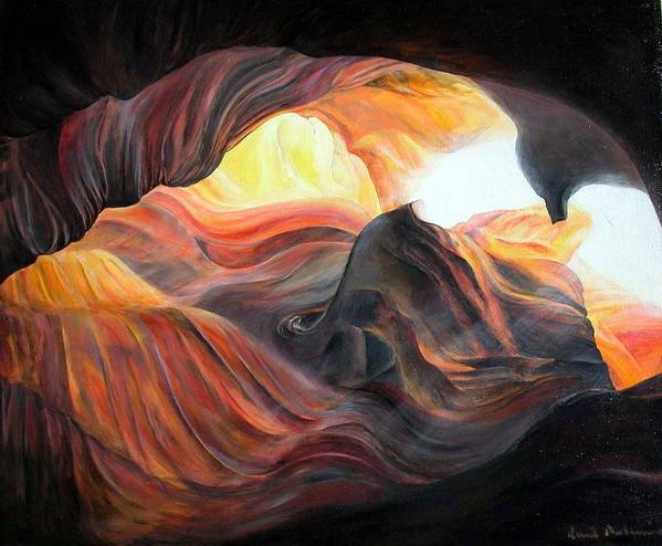 Landscape Poster featuring the painting Caverne by Muriel Dolemieux