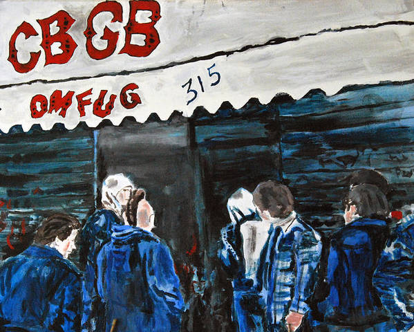 New York City Paintings Poster featuring the painting Cbgb's by Wayne Pearce