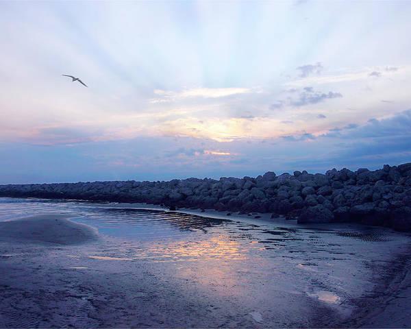 Photo Poster featuring the photograph Cedar Island Sunrise 1 by Alan Hausenflock