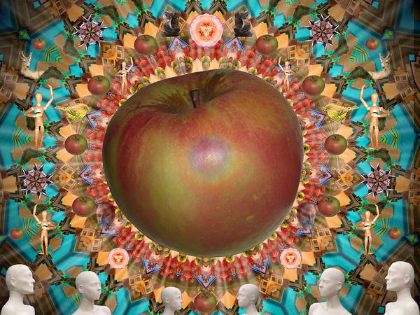 Apple Poster featuring the digital art Celebrate The Apple by Glen Faxon